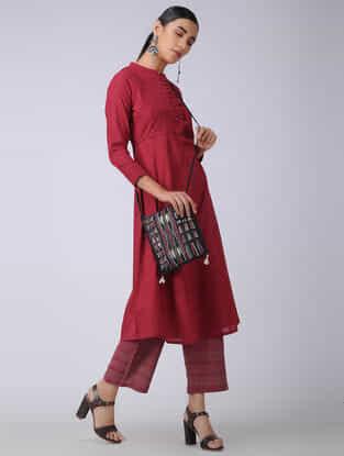 Red Handloom Cotton Kurta with Pleats
