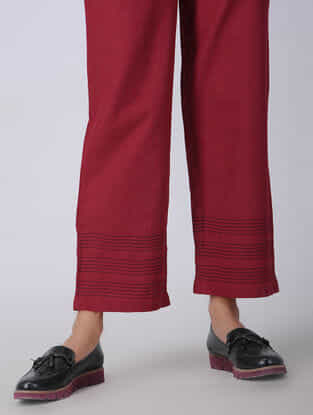 Red Elasticated-waist Handloom Cotton Pants with Kantha Embroidery