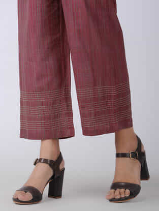 Maroon Elasticated-waist Handloom Cotton Pants with Kantha Embroidery