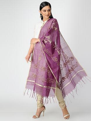 Purple-Maroon Hand-embroidered Jute Cotton Dupatta with Zari Border