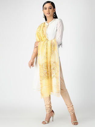 Yellow-Red Hand-embroidered Organza Cotton Dupatta