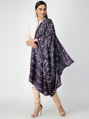 Purple-Ivory Hand-embroidered Matka Silk Dupatta