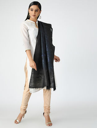 Blue-Black Hand-embroidered Matka Silk Dupatta