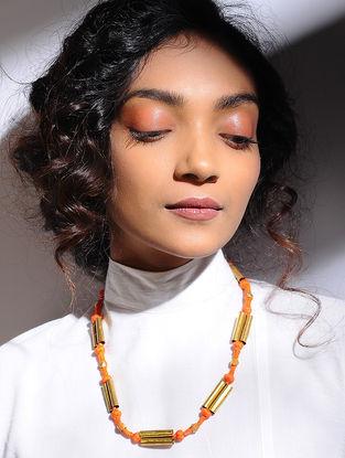 Orange Gold Tone Beaded Necklace with Dhokra Work