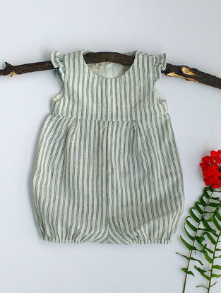 Cream-Indigo Striped Khadi Cotton Romper