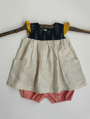 Cream-Black Linen Cotton Top with Pink Bloomers