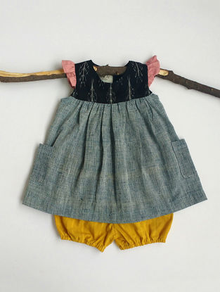 Blue-Black Khadi Cotton Top with Mustard Bloomers