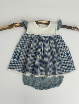 Blue Checkered Cotton Top with Bloomers