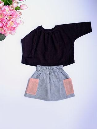 Black Khadi Cotton Top with Kimono Sleeves