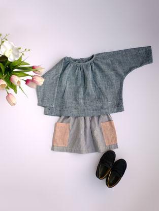 Grey Khadi Cotton Top with Kimono Sleeves