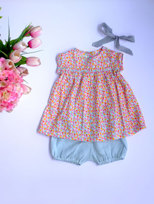 Pink Printed Cotton Dress with Blue Linen Bloomers