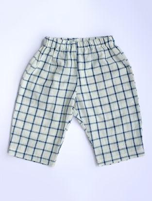White-Indigo Checkered Khadi Cotton Pants