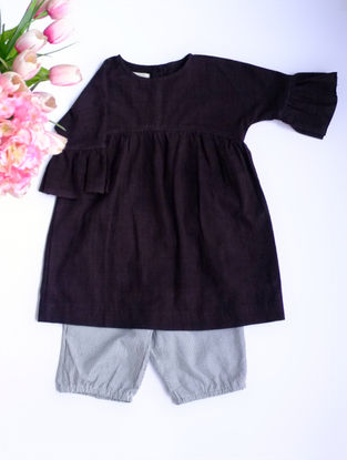 Black Khadi Cotton Top with Striped Bloomers