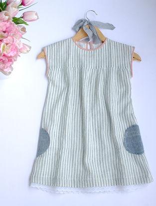 Indigo Striped Khadi Cotton Dress