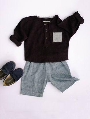 Black Khadi Cotton Shirt with Blue Shorts