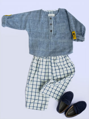 Blue Khadi Cotton Shirt with Checkered Pants
