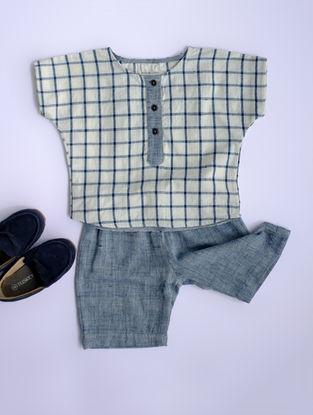 Blue Checkered Khadi Cotton Shirt with Shorts
