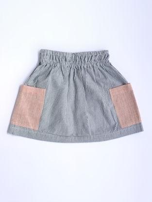 Black-White Striped Cotton Skirt
