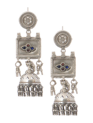 Blue-Red Silver Jhumkis with Floral Motif