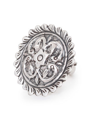 Classic Adjustable Silver Ring with Floral Motif