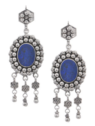Lapis Lazuli Silver Earrings with Floral Motif