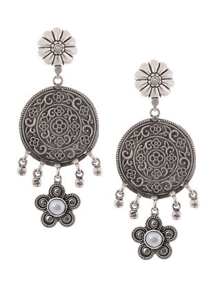 Classic Pearl Silver Earrings with Floral Design