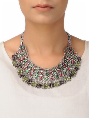 Garnet and Peridot Silver Necklace