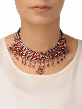 Red Silver Thread Necklace