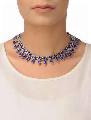 Blue Silver Thread Necklace