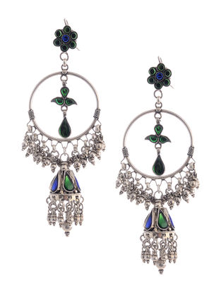 Blue-Green Silver Earrings with Floral Design