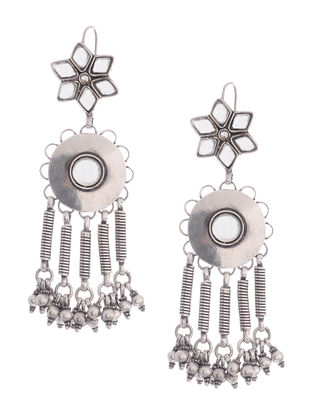 Glass Silver Earrings with Floral Design