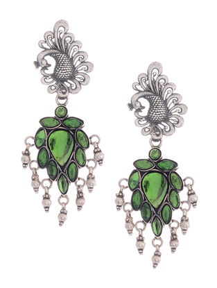 Green Glass Silver Earrings with Peacock Design