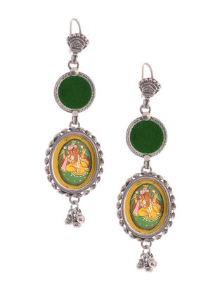 Green Glass Hand-painted Silver Earrings with Lord Ganesha Motif