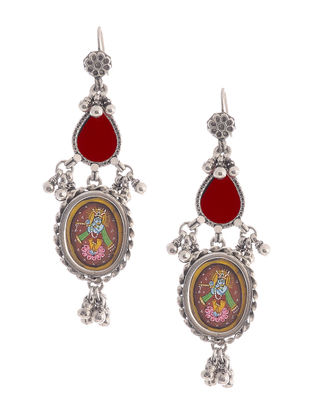 Red Glass Hand-painted Silver Earrings with Lord Krishna Motif
