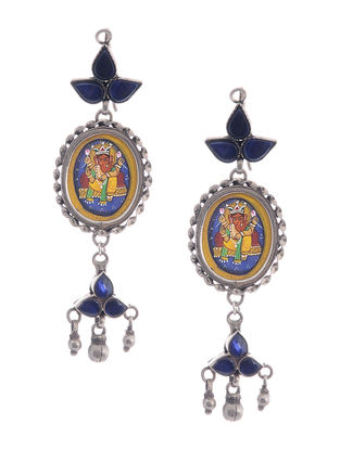 Blue Hand-painted Silver Earrings with Lord Ganesha Motif