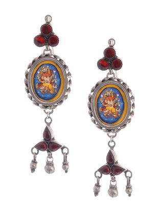 Red Hand-painted Silver Earrings with Lord Ganesha Motif