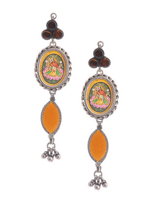 Yellow Glass Hand-painted Silver Earrings with Lord Ganesha Motif