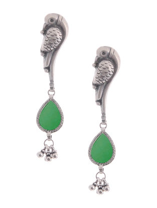 Green Glass Silver Earrings with Parrot Design