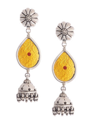 Yellow Glass Tribal Silver Jhumkis with Floral Design