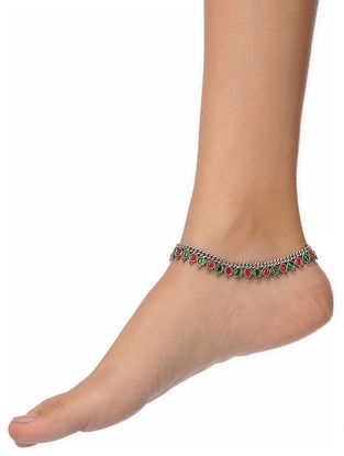 Red-Green Silver Anklet