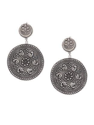 Tribal Silver Earrings with Bird Motif