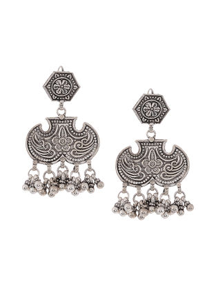 Classic Silver Earrings with Floral Motif