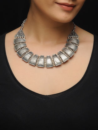 Tribal Silver Necklace with Floral Motif