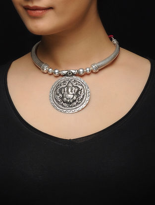 Pink Thread Tribal Silver Necklace with Lord Ganesha Motif