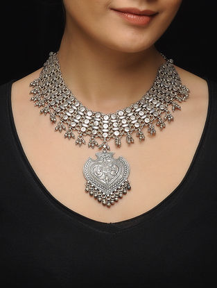 Tribal Silver Necklace with Bird Motif