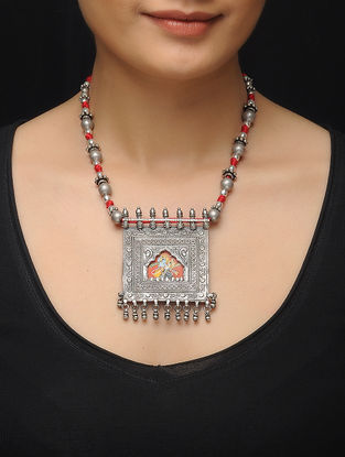 Red Thread Silver Necklace with Hand-painted Deity Motif