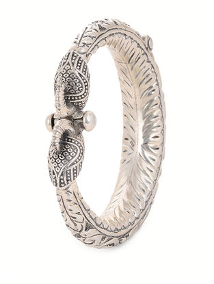Hinged Opening Tribal Silver Bangle with Floral Motif (Bangle Size -2/8)