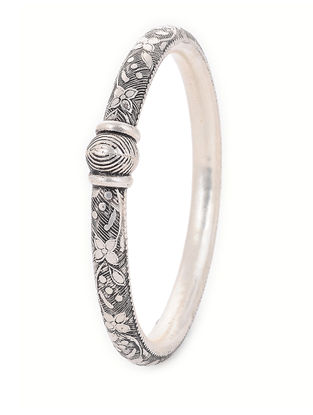 Tribal Silver Bangle with Floral Motif (Bangle Size -2/8)