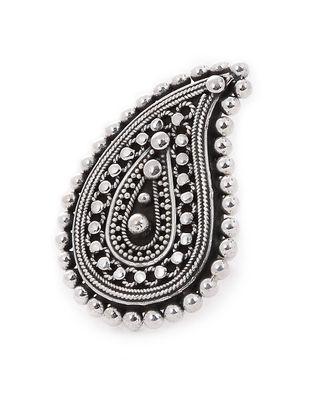 Tribal Adjustable Silver Ring with Paisley Design