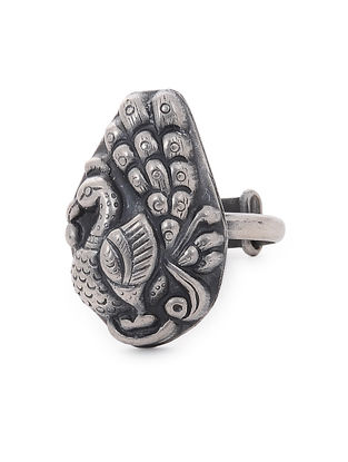 Tribal Silver Adjustable Ring with Peacock Design